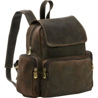 Distressed Leather Womens Multi Pocket Backpack
