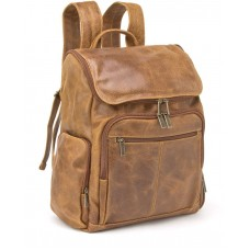 Distressed Leather Laptop-Backpack